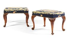 A pair of George III mahogany stools<br>circa 1760 Victorian Furniture, Vintage Furniture, Furniture Decor, Rococo Style, Art Decor, Home Decor, Console Table, Chairs, Contemporary