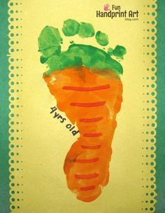 How to make a footprint carrot craft for Easter or Spring. It also could be used for a preschool vegetable theme.