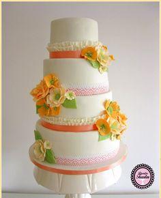 Bruidstaart Oranje,wit.peach