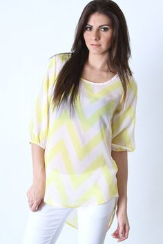 Neon Yellow Chevron High Low Top – LaV's Boutique