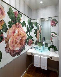 Piastrelle mosaico disegno rose