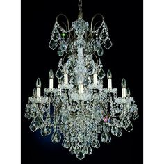 """Schonbek New Orleans Collection 32"""" Wide Crystal Chandelier ($4,741) ❤ liked on Polyvore featuring home, lighting, ceiling lights, chandeliers, schonbek lighting, schonbek chandelier, crystal chandelier light, crystal ceiling lamp and crystal lamps"""
