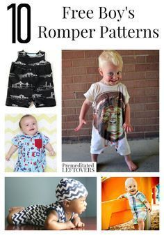 10 Free Boy Romper Patterns including easy rompers made from tee shirts, polo…