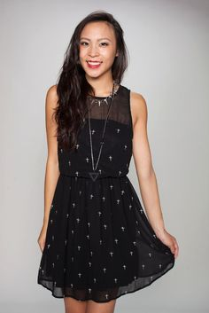 Embroidered Crosses Dress