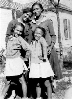 "Seven year old Dorothy Dandridge on the right. She's pictured her with her sister Vivian, mother Ruby (upper left), and her mother's ""companion…"" Geneva Williams."