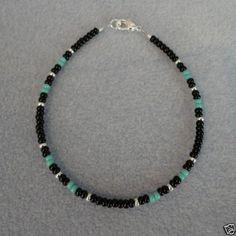 Turquoise-Black-Silver-Beaded-Bracelet-Native-American