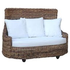 """Showcasing white cotton upholstery and a mahogany wood frame, this eye-catching loveseat adds tropical appeal to your sunroom or den.  Product: LoveseatConstruction Material: Mahogany and cottonColor: Brown and whiteFeatures:  22"""" Arm height2"""" Clearance between bottom of loveseat and floorIncludes three accent pillows Removable cushionsDimensions: Legs: 2"""" H x 2"""" W x 2"""" D Seat: 19"""" H x 50"""" W x 33"""" DOverall: 40"""" H x 56"""" W x 36"""" D"""