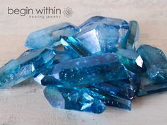Aqua aura quartz is quartz that is bonded with gold. It has a calming, relaxing effect on the emotional body and stimulates the throat chakra, enhancing your ability to communicate in a positive manner.