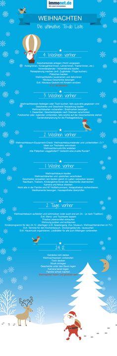 Die ultimative Weihnachts-To-Do-Liste.  Bis Weihnachten muss noch einiges vorbereitet werden. Hier findet ihr die ultimative #Weihnachts-To-Do-Liste. Damit ihr bis #Heiligabend nicht den Überblick verliert, hat #Immonet für euch zusammengestellt, was ihr bis dahin organisiert und erledigt haben müsst. Frohe #Weihnachten wünsch Immonet!