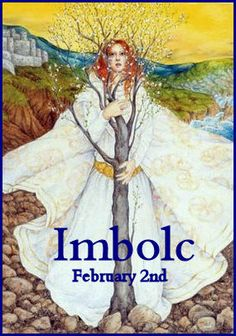 Imbolc card with the goddess Brigid. Wiccan, Magick, Witchcraft, Solstice And Equinox, Winter Solstice, Fire Festival, Festival Lights, Tarot, Les Religions