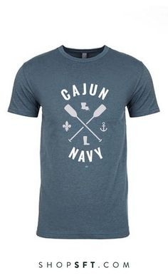 Be Louisiana Strong in our SFT Cajun Navy tee! This T-shirt was created to show our Cajun Navy pride and appreciation for the brave men and women who launched their boats into the August 2016 floodwat Flag Display Case, Display Cases, Navy Tees, Fundraising, New Orleans, Just In Case, Water Damage, Southern Hospitality, Southern Charm