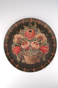 Theorum painting on metal tray