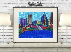 Rochester New York Folk Art Art Print Poster by Heather Galler NY City Print Cityscape (Hg805)