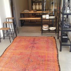 Beautiful Boujad carpet from The Flying Rug displayed in the shop Dansk Made for Rooms in Copenhagen. Photo by Henriette W. Leth