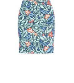 Blue Tropical Print Tube Skirt