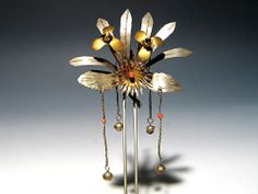 Japanese Geisha Kushi Kanzashi Metal Work Hairpin Art ★ | eBay