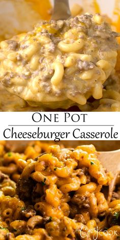 This Cheeseburger Casserole is an easy 30 minute meal that you can make in One Pot Your family will love this homemade hamburger helper onepotrecipes recipeswithgroundbeef easydinnerideas # Ground Beef Recipes For Dinner, Easy Dinner Recipes, Easy Pie Recipes, Ground Beef Crockpot Meals, Recipes With Rotel, Dinner Ideas With Hamburger, Recipes With Sausage Ground, Easy Comfort Food Recipes, Easy Casserole Recipes For Dinner Beef