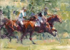 """Artist and painter Carolyn Anderson's """"Polo,"""" original Western art oil painting of polo players in action on horseback"""
