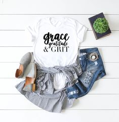 b9e7bbc8763 Grace Gratitude And Grit Graphic Tee Christian Shirts