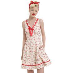 Hell Bunny Alizea Mini Dress ($50) ❤ liked on Polyvore featuring dresses, mini dress, short white dresses, vintage swing dress, v neck dress and white dress