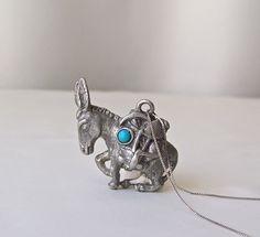 Vintage Pewter Donkey Pendant Turquoise Donkey Signed Costume Jewelry Donkey Jewelry 1980s by cynthiasattic on Etsy