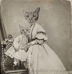 Mothers Day Cat Art Print, Tabby Cat Family Portrait, Altered Victorian Antique Photo of Mother and Son, Mixed Media Collage [per previous pinner] Cute Cats And Kittens, Cool Cats, Creepy Cat, Mama Cat, Photo Chat, Cat Character, Cat Art Print, Cat People, Collage