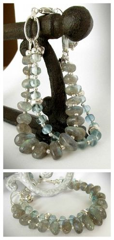 Gorgeous double-strands of Labradorite and Aquamarine ... stones so clear it looks like droplets of water encircling your wrist! #Marchbirthstone