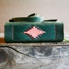 Leather Journal Woven One of Many Colors Hand bound by Odelae