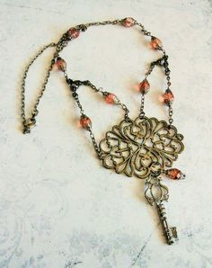 Gunmetal Black Filigree Skeleton Key Victorian Necklace, Wire Wrapped Handmade Czech Dark Rose Bead Jewelry, Unique Gothic Style Pendant by BackAlleyDesignsINK on Etsy