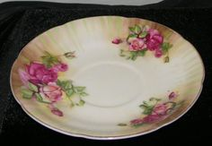Vintage-Ucagco-China-Saucer-Pink-and-Mauve-Roses-Japan