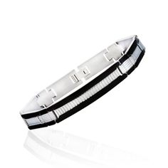 $9.99 - Stainless Steel Black Box Link Men's Bracelet with Silver-Tone Line Design