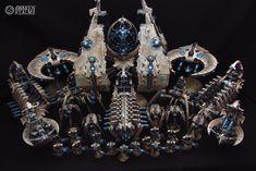 Necron Army by Awaken Realms Warhammer 40k Necrons, Warhammer Terrain, Warhammer Models, Warhammer 40k Miniatures, Paint Schemes, Color Schemes, Necron Army, 40k Armies, Fantasy Battle