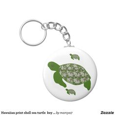 Hawaiian print shell sea turtle  key chain