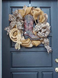 Western Wreaths, Country Wreaths, Fall Wreaths, Mesh Wreaths, Christmas Wreaths, Christmas Decorations, Cowboy Boot Crafts, Western Crafts, Western Decor