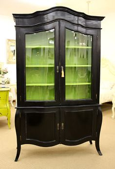 Black sideboard display cabinet with bright green interior Design Furniture, Furniture Projects, Furniture Making, Furniture Makeover, Furniture Decor, Painted Furniture, Gothic Furniture, Furniture Plans, Garden Furniture