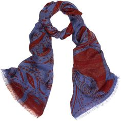 Etro Blue and Red Paisley Print Lurex Scarf ($340) ❤ liked on Polyvore
