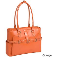 McKlein Women's Willow Springs Leather 15.4-inch Laptop Tote Bag ($123) ❤ liked on Polyvore featuring bags, handbags, tote bags, orange, white leather tote, white leather handbags, zip tote bag, leather zip tote and leather totes