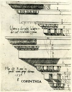 Object typeprint Museum number1904,0822.1.5 DescriptionTwo sections of decorated entablatures from near the baths. 1537 Engraving Producer n...