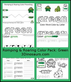 Free Romping & Roaring Color Pack Green - 8 pages of activities focused on the color word green - 3Dinosaurs.com
