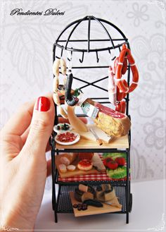 dollhouse miniature furniture with food