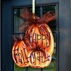 Fall Wreath, Door Hanger: Fall, Pumpkin Door Decoration, Fall Home Decor…