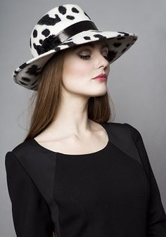 Rachel Trevor Morgan Millinery Autumn Winter 2015 R15W24 Cow print felt trilby with patent band and velvet leaves