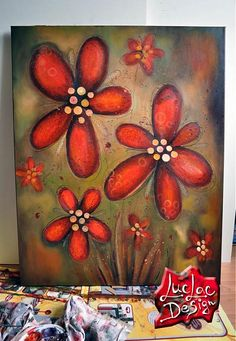 LucLac / Red flowers - acryllic painting on canvas
