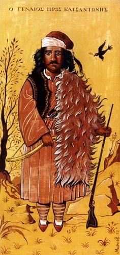 ''The hero Katsantonis'' by Chrysanthos Bostantzoglou (Bost) Greek Independence, Greek Paintings, 10 Picture, Greek Art, Gustav Klimt, Conceptual Art, Artist Painting, Printmaking, Greece