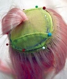 (Creating hair wig/lots of pics) Mimin Dolls: tutorial cabelo