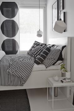Black and white bedroom, Marimekko design, Innolux Pasila lamp, Hay Tray table Monochrome Bedroom, White Bedroom, Dream Bedroom, Master Bedroom, Bedroom Decor, Hay Tray Table, Marimekko, Stylish Bedroom, Interior Exterior