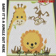 Baby Graphgan Pattern - Corner to Corner - C2C Crochet -  Baby Monkey Giraffe Lion Jungle Animal Blanket Afghan Crochet Graph Pattern Chart