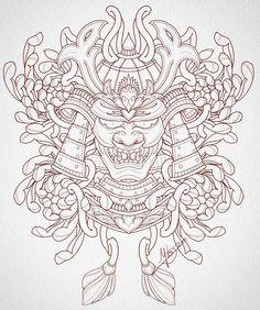 Japanese Warrior Tattoo, Japanese Dragon Tattoos, Japanese Tattoo Art, Japanese Tattoo Designs, Pop Art Tattoos, Red Ink Tattoos, Arrow Tattoos, Samurai Mask Tattoo, Tattoo Oriental