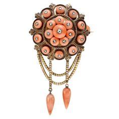 Victorian coral diamond brooch.