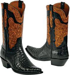 Womens Black Jack Boots Black Caimen Belly Custom Boots HT-91